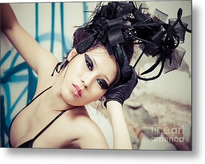 Beautiful Asian Woman Metal Print by Fototrav Print