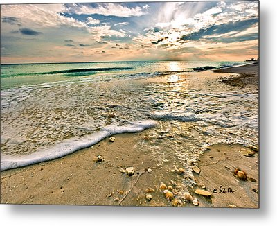 Beautiful Beach Blue Sea Sunset Metal Print