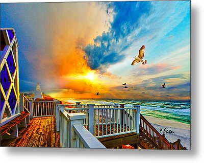 Beautiful Beach Seaside Florida Beach Staircase Metal Print