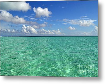 Beautiful Bora Bora Green Water And Blue Sky Metal Print by Eva Kaufman