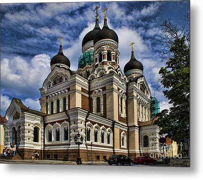 Beautiful Cathedral In Tallinn Estonia Metal Print by David Smith