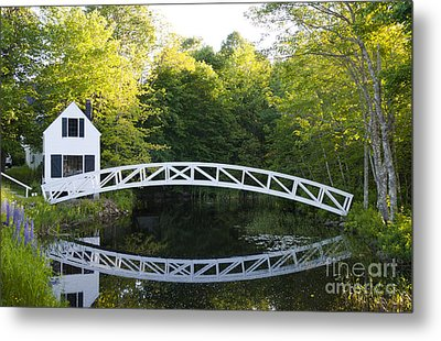 Beautiful Curved Bridge In Somesville Metal Print by Bill Bachmann
