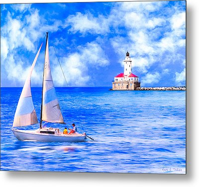 Beautiful Day For Sailing - Chicago Harbor Light Metal Print by Mark E Tisdale