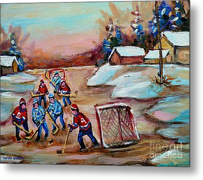 Beautiful Day-pond Hockey-hockey Game-canadian Landscape-winter Scenes-carole Spandau Metal Print