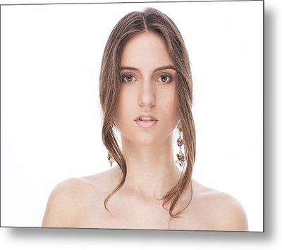 Beautiful Female With Earrings Metal Print by Anastasia Yadovina