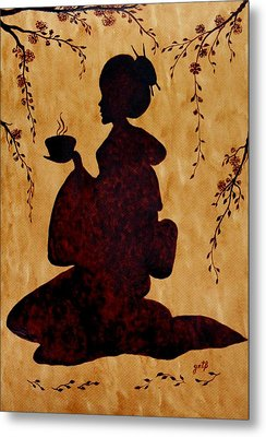 Beautiful Geisha Coffee Painting Metal Print