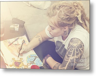 Beautiful Girl Drawing Complex Water Colour Sketch Metal Print by Jorgo Photography - Wall Art Gallery