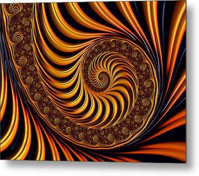Metal Print featuring the digital art Beautiful Golden Fractal Spiral Artwork  by Matthias Hauser