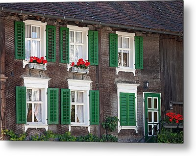 Beautiful House In Austria With Decoration Metal Print by Tatyana Tomsickova