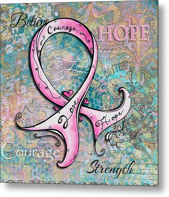 Beautiful Inspirational Elegant Pink Ribbon Design Art For Breast Cancer Awareness Metal Print by Megan Duncanson
