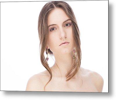 Beautiful Model With Earrings Metal Print by Anastasia Yadovina