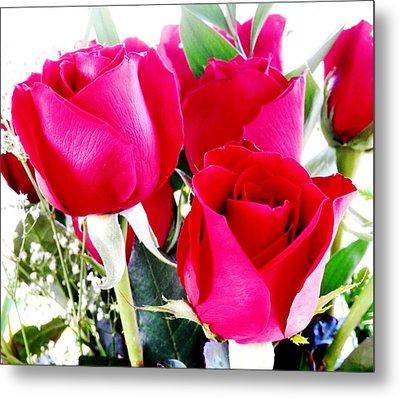 Beautiful Neon Red Roses Metal Print