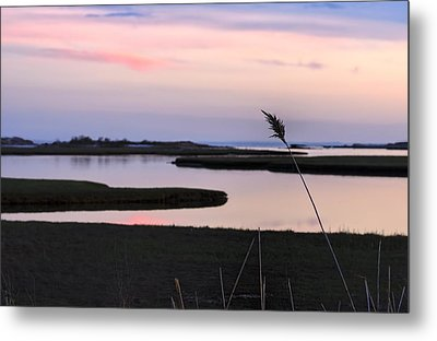 Beautiful Pink And Purple Sunset Over A New England Tidal Salt M Metal Print by Marianne Campolongo