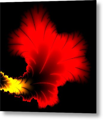 Beautiful Red And Yellow Floral Fractal Artwork Square Format Metal Print by Matthias Hauser