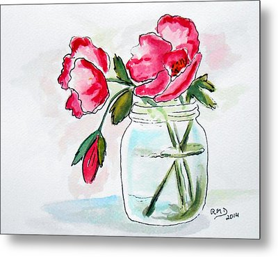 Beautiful Roses In A Mason Jar Metal Print by Rita Drolet