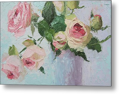 Beautiful Roses Oil Palette Knife Painting Metal Print
