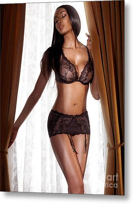 Beautiful Sexy Black Woman In Lingerie Standing At The Window Metal Print by Oleksiy Maksymenko