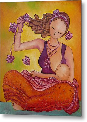 Beautiful Sitting Mama Breastfeeding Metal Print by Gioia Albano