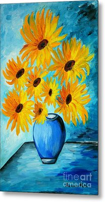 Beautiful Sunflowers In Blue Vase Metal Print