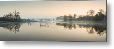 Beautiful Tranquil Mist Over Lake Sunrise Landscape Metal Print by Matthew Gibson