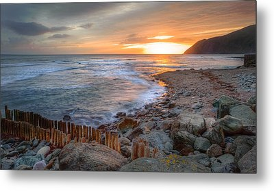 Beautiful Vibrant Sunrise Over Low Tide Beach Landscape Metal Print by Matthew Gibson