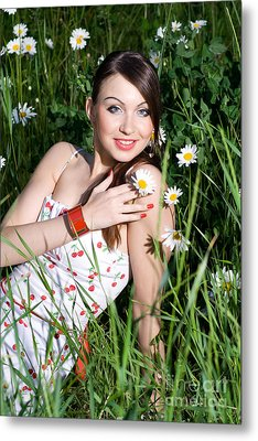 Beautiful Woman Sitting In Tall Grass And Daisies Metal Print by Diana Jo Marmont