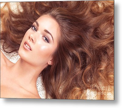 Beautiful Woman With Long Hair Spread Around Her Metal Print