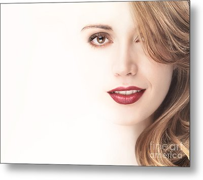 Beautiful Young Woman Face Blending Into Light Background Metal Print by Oleksiy Maksymenko