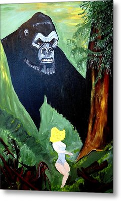 Metal Print featuring the painting Beauty And The Beast by Nora Shepley