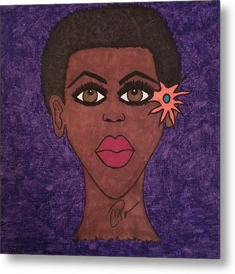 Metal Print featuring the drawing Beauty Is In The Eyes by Chrissy  Pena