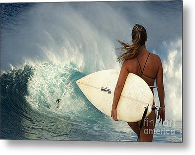 Surfer Girl Meets Jaws Metal Print by Bob Christopher