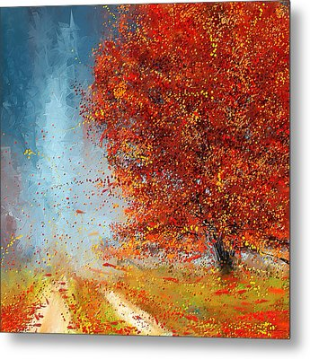 Beauty Of It- Autumn Impressionism Metal Print by Lourry Legarde