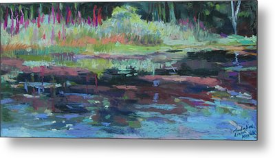 Metal Print featuring the painting Beaver Pond by Linda Novick