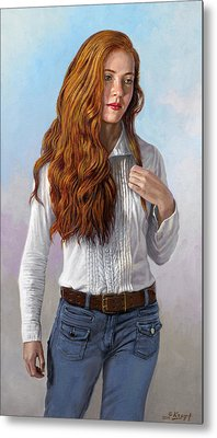 Becca In Blouse And Jeans Metal Print by Paul Krapf