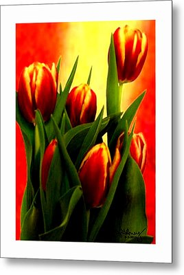 Becky Tulips Art2 Jgibney The Museum Gifts Metal Print by The MUSEUM Artist Series jGibney