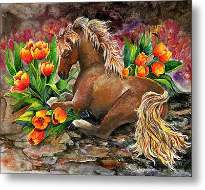 Bed Of Tulips Metal Print by Sherry Shipley