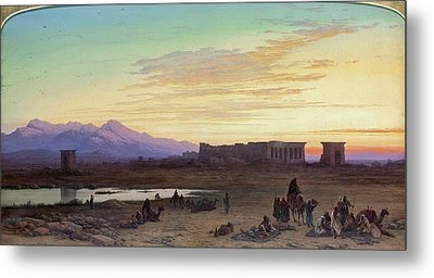 Bedouin Encampment Before The Temple Of Hathor At Dendera Metal Print by MotionAge Designs