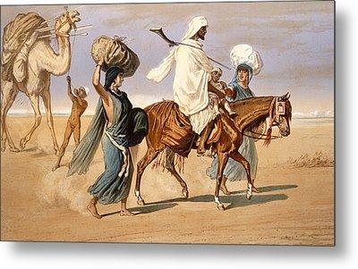 Bedouin Family Travels Across The Desert Metal Print by Henri de Montaut