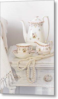 Bedside Table For Tea Metal Print by Amanda Elwell