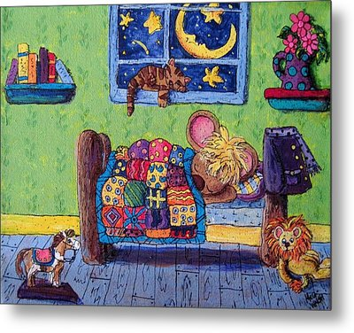 Bedtime Mouse Metal Print