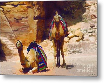 Bedu Camels On The Silk Road Metal Print by Ted Guhl