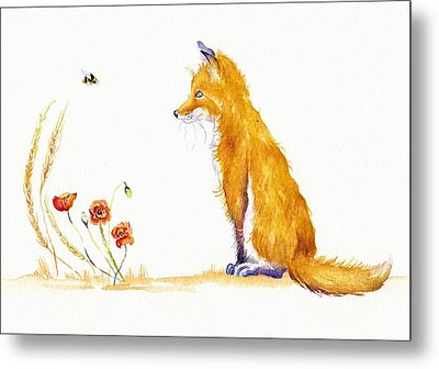 Bee A Summer Fox Metal Print