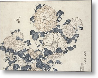 Bee And Chrysanthemums Metal Print by Katsushika Hokusai