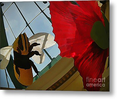 Bee And Flower Metal Print by John Malone