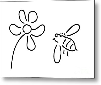 Bee Honey Flower Blossom Metal Print by Lineamentum