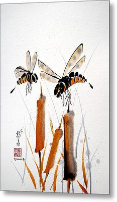 Metal Print featuring the painting Bee-ing Present by Bill Searle
