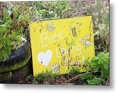 Bee Loving Plants Metal Print by Ashley Cooper