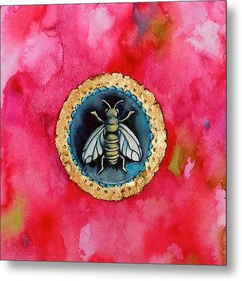 Bee Seal Metal Print by Roleen  Senic