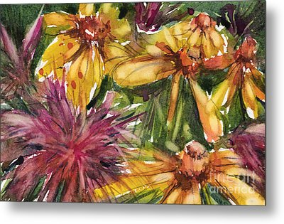 Beebalm And Heliopsis Metal Print by Judith Levins