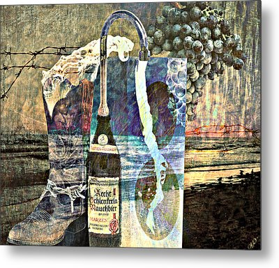 Metal Print featuring the mixed media Beer On Tap by Ally  White